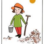ilustracja kobieta wogródku